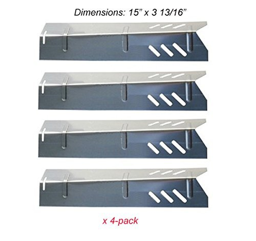 Set of Four Stainless Steel Heat Plates for Uniflame, DynaGlo, Better Home and Garden and Backyard Grill Models by Quickflame