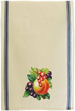 Peach Fruit Style 2 Cotton Retro Stripe Dish Kitchen Towel Blue Stripe