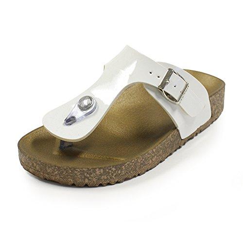 Kids Sandals, H2K 'VERKIN JR' Boys Girls Flip-Flops Slip-On Slippers Toddler & Little Kids Slide Sandal Shoes with Adjustable Buckle Strap - White & Brown, Size 2 M US Size
