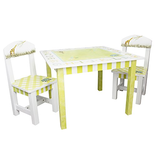 Teamson Design Alphabet (Fantasy Fields - Alphabet Thematic Hand Crafted Kids Wooden Table and 2 Chairs Set |Imagination Inspiring Hand Crafted & Hand Painted Details | Non-Toxic, Lead Free Water-based)
