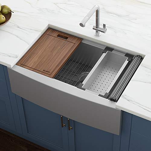 Ruvati 33-inch Apron-front Workstation Farmhouse Kitchen Sink 16 Gauge Stainless