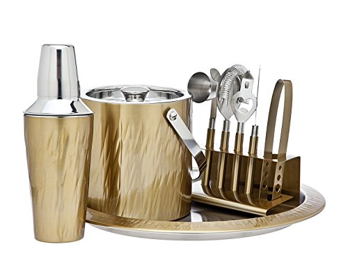 Godinger 9 Piece Barware Set, Aztec Gold