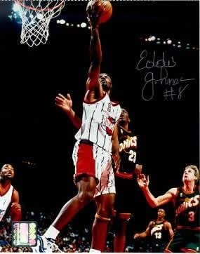 44383b1f951cf Autographed Eddie Johnson Picture - Houston Rockets vs Sonics 8x10 ...