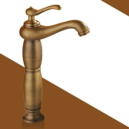 1 Oudan Basin Mixer Tap Bathroom Sink Faucet 0K bell grand counter-copper gold and cold water faucet bathroom sink bluee-tiled faucet, antique, classic plus high (color   2)