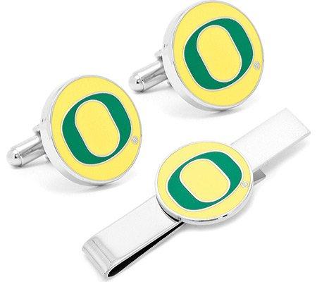 Oregon Ducks Tie Bar - Cufflinks Inc Men's Oregon Ducks Cufflinks and Tie Bar Gift Set,Green/Yellow,US