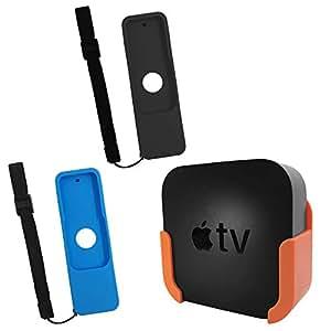 TV Mount for Apple TV 4th and 4K 5th Generation,SourceTon Wall Mount Bracket Holder for Apple TV 4th/4K 5th Gen,Bonus 2 Protective Case(Blue&Black) for Apple TV 4K/4th Gen Siri Remote Controls