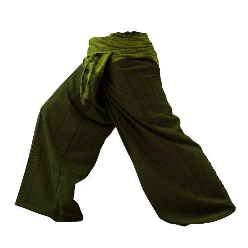 LannaPremium 2 Tone Thai Fisherman Pants Men Yoga Trousers Free Size Dark Green and Green