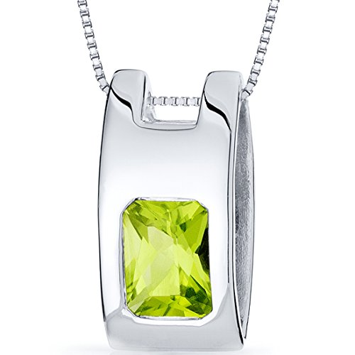 Vivid Color 1.50 carats Radiant Cut Sterling Silver Peridot Pendant