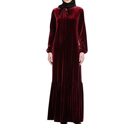 Hzjundasi islamisch Muslim Damen Araber Lange Ärmel Robe Samt Lose Kleid Kaftan Saudi Türkei Volle Länge Thobe Cocktail Apparel Abaya Mädchen Verschleiß für Ramadan,086# Rot
