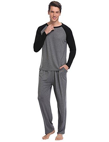 Aibrou Pijamas Hombre 100% Modal Mangas Pantalones Largos, Mas Suave, Cómodo, Ligero y Agradable: Amazon.es: Ropa y accesorios
