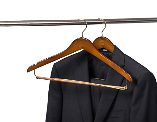 Quality Hangers 25 Curved Wooden Hangers Beautiful Sturdy Suit Coat Hangers with Locking Bar Gold Hooks Walnut Finish (25) by Quality Hangers (Image #1)