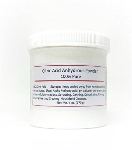 Citric Acid Powder, 6 oz. Cosmetic pH adjuster, descaler, calcium remover.