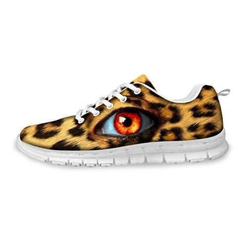 För U Designar Mode Leopard Print Man & Kvinna Lätta Mesh Löparskor Leopardmönstrad Öga