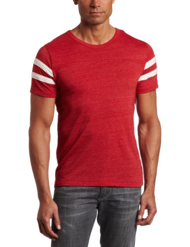 Football Jersey Tee - Alternative Men's Short Sleeve Football Tee, True Red/Ivory, Large