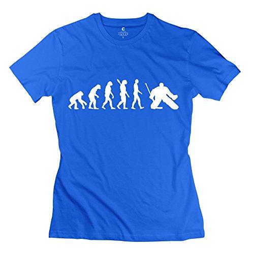 TGRJ Women's Tees - Classic Evolution Hockey Goalie T-shirt RoyalBlue Size XS