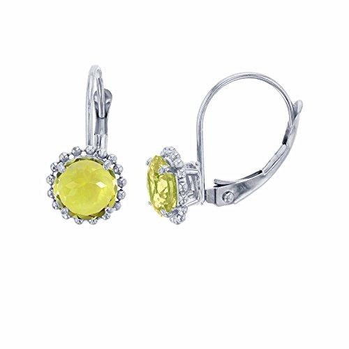 - 10K White Gold 6mm Round Lemon Quartz Center Stone Bead Frame Leverback Earring