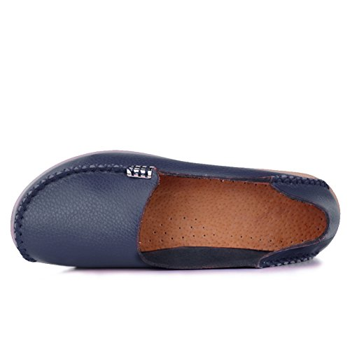 Slip Shoes Leather Genuine Flat Slippers Blue Driving Indoor CIOR Loafers 9deep Womens Casual on Moccasin nvExS