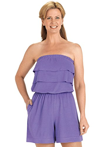 - Terry Cloth Romper | Strapless Terry Cloth Romper, Color Purple, Size Extra Large (3X), Purple, Size Extra Large (3X)