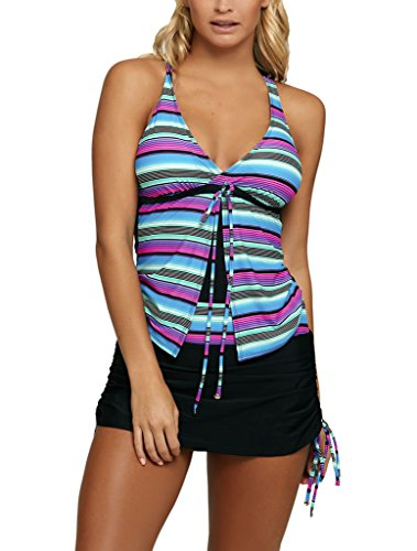 Sidefeel Women Multi Striped Two Pieces Skirtini Swimsuit Tankini Set Large Multicolor