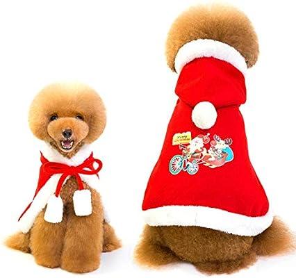 Queta Ropa para Perros, Ropa para Mascotas, Santa Cloak con Sombrero, Cachorro a la Moda Lindo Suave Grueso Abrigo Caliente otoño/Invierno