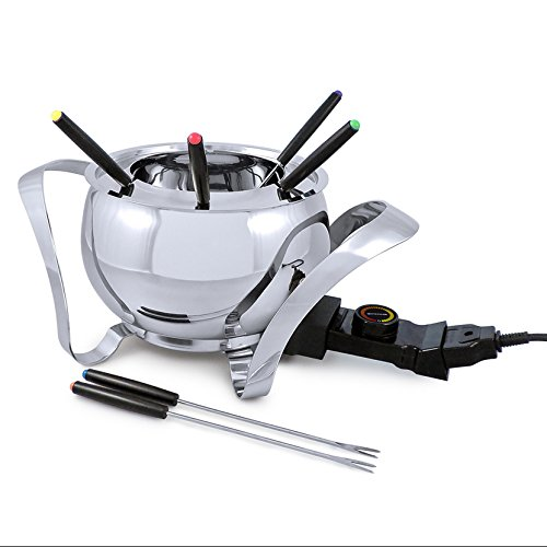 Swissmar Montreux 9 Piece Electric Fondue Set, Stainless Steel by Swissmar