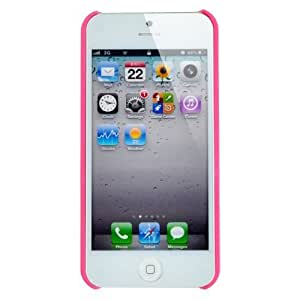 SODIAL(R) Funda Rigida Goma para Apple iPhone 5, Diseno de Nido de Pajaro - Rosa Oscuro