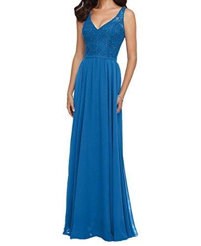 Spitze Damen Rock Blau Ballkleider Dunkel Brautjungfernkleider Lang La Braut Abendkleider mia Blau Ausschnitt Navy V qX1WFZf