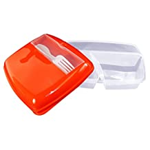 """3 Compartment Lunch Caddy With Utensil Tray, 9.5"""" x 7.5"""", Snap-on Cover."""