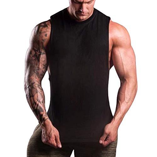FEDULK Mens Sports Fitness Vest Workout Outdoor Running Gym Bpdybuliding Body Shaper Elastic Tops Tank(Black, XX-Large) ()