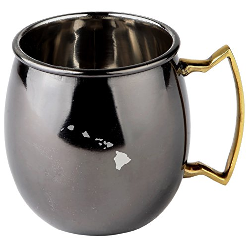 Hawaii Stainless Steel Moscow Mule Mugs With Black Mirror Finish - Copper Plated Cocktail Mug - 16 Oz Moscow Mule Mug Gift by Modern Goods Co