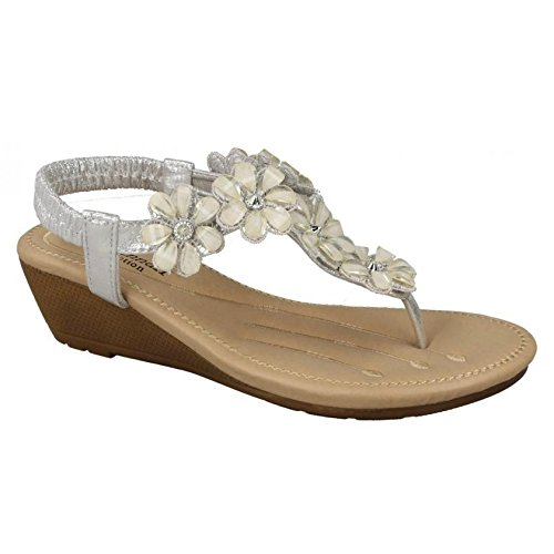 Mid Synthetic Ladies Silver Flower Trim Sandals Wedge Savannah Womens Toepost AvxETWqWHw