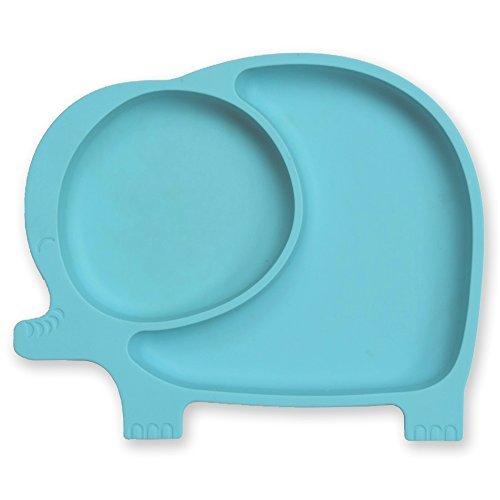 Sage Spoonfuls Sili Elephant Silicone Suction Divided Toddler Plate, Blue