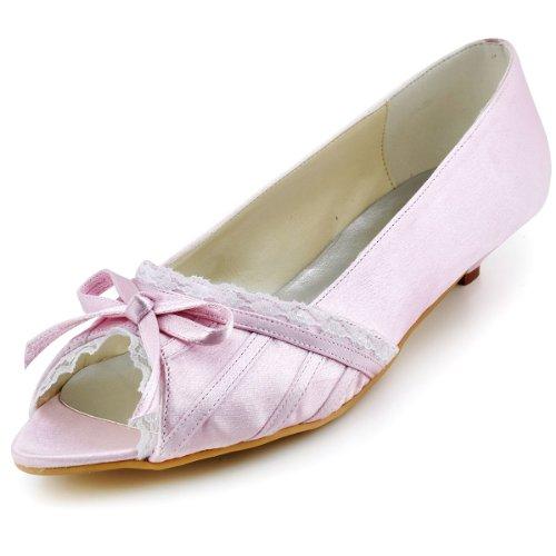 ElegantPark EL10009 Mujer Mini Tac¨®n Fiesta Zapatillas Cu?as Borde Arcos Sat¨¦n Zapatos De Boda Rosa