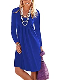 Women's Casual Long Sleeve Knee Length Pleated Dresses with Pockets