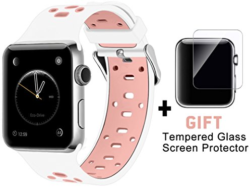 Rain gold Silicone iWatch Band 38mm Breathable Straps with iWatch Screen Protector for Apple Watch Nike+ Series 2 Series 1 Sport Edition Replacement Wristband Pink/White