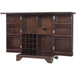Home Bar Cabinetry Crosley Furniture LaFayette Expandable Top Bar Cabinet, Vintage Mahogany home bar cabinetry