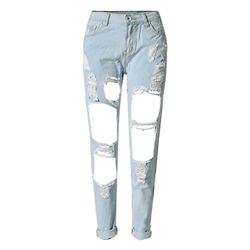 RieKet Women Distressed Boyfriend Dipped Jeans for Juniors (8, Light Blue) (Baggy Boyfriend Jeans)