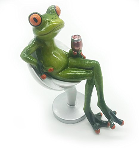 - Cafolo Novelty Frog Figurine Setting On Bar Stool & Holding Wine Glass Statue For Home Decor & Gift - Green and Orange