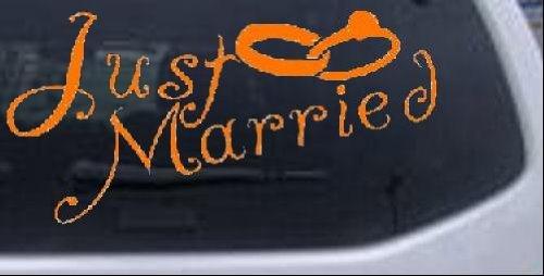 (3in X 6in Orange -- Just Married Car Window Wall Laptop Decal Sticker)