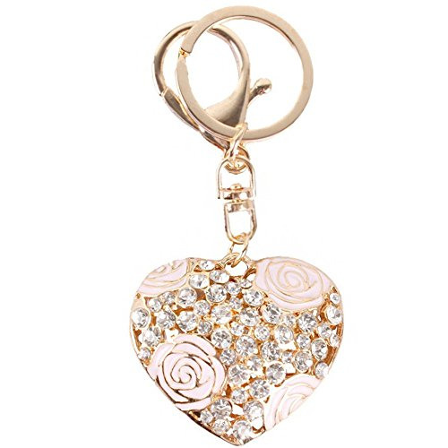 - Love Heart Shape Rose Flower Crystal Charm Pendant Purse Bag Key Ring Chain Gift (Pink)