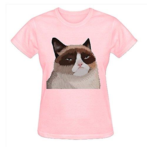 Grumpy Cat Oog Women T Shirts O Neck Pink