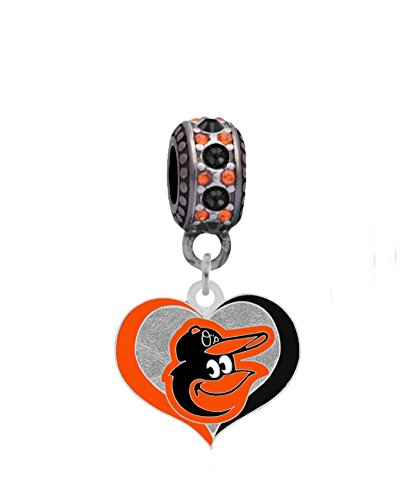 Baltimore Orioles Swirl Heart Charm