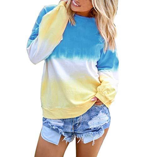 Dressin Women's Casual O-Neck Gradient Contrast Color Long Sleeve Top Pullover Sweatshir Blue