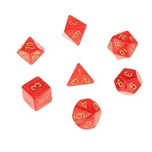7pcs Juegos de Mesa Dados Multi Caras TRPG D4-D20 Patrón Perla con Puntitos Dorados - Rojo