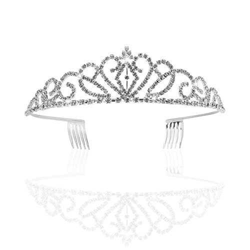 (Pixnor Gorgeous Pretty Rhinestone Tiara Crown Exquisite Headband Comb Pin Wedding Bridal Birthday)