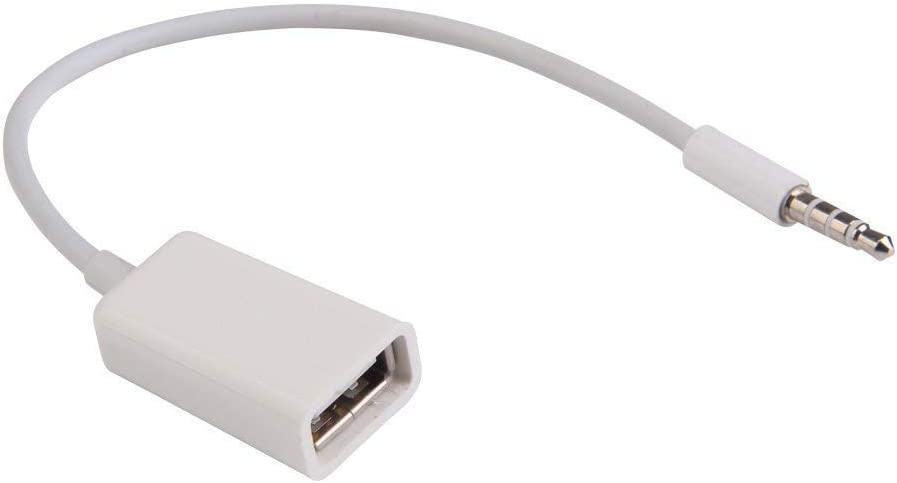 BLUEXIN 3.5mm AUX Audio Plug Jack to USB 2.0 Female Converter Cable for Car Audio
