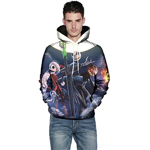 Clearance Deals,WUAI Halloween Costumes for Adults Mens Womens 3D Pumpkin Print Funny Plus Size Hoodie Jackets(Black ,US Size M = Tag -