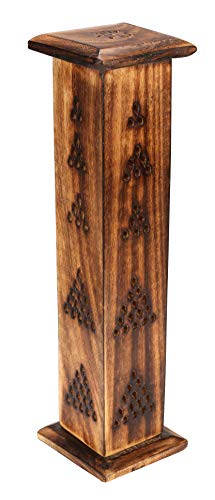Wood Incense Tower, Incense Burner Holder, Incense Cone Tower Burner Stand Holder Ash Catcher,Ideal Gift for Aromatherapy, Zen, Spa,Vastu, Reiki Chakra Votive Candle Garden Settings - Burnt -12