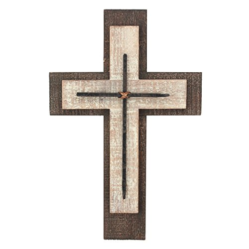 Decorative Worn White and Brown Wooden Hanging Wall Cross, Rustic Cross for Wall of Crosses, Religious Home Decor, Gift Idea for Birthdays, Easter, Christmas, Weddings, or Any (Rustic Wall Cross)