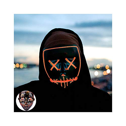 Halloween Mask Led Mask Light up Mask Scary Mask for Festival Cosplay Halloween Costume Party (Orange-)